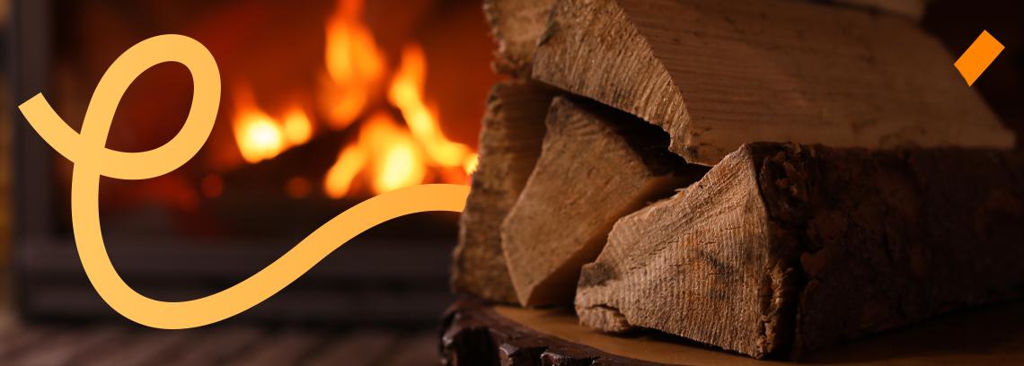 Bûches de bois et feux en arrière plan
